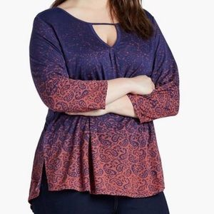 Lucky Brand Gradient Paisley Print Blouse, Size 2X